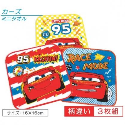 小禮堂 迪士尼 閃電麥坤 純棉割絨方巾組 純棉手帕 小毛巾 16x16cm (3入 藍紅 橫紋)