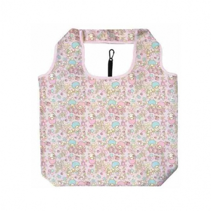 小禮堂 雙子星 折疊尼龍環保購物袋 環保袋 側背袋 手提袋 (粉 牽牛花)