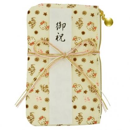 小禮堂 Hello Kitty 尼龍口罩包 口罩夾 口罩套 化妝包 小物包 (黃 禮金袋)