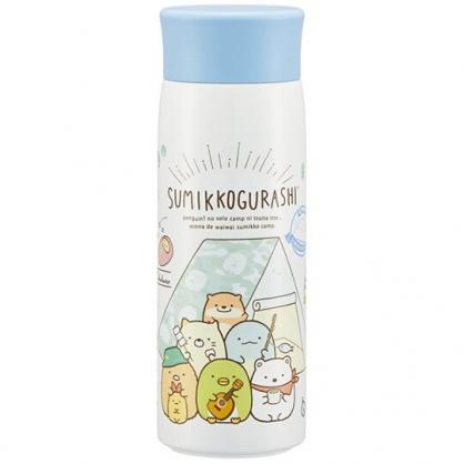 小禮堂 角落生物 旋轉蓋不鏽鋼保溫瓶 不鏽鋼水瓶 兒童水壺 隨身瓶 350ml (藍白 帳篷)