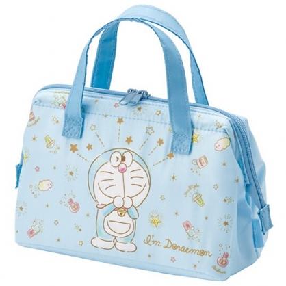 小禮堂 哆啦A夢 硬式支架尼龍保冷便當袋 保冷提袋 保溫袋 野餐袋 (藍 眨眼)