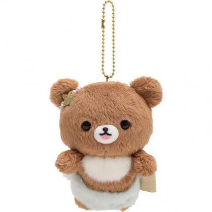小禮堂 懶懶熊 絨毛吊飾 玩偶吊飾 玩偶鑰匙圈 包包吊飾 (棕藍 天使)
