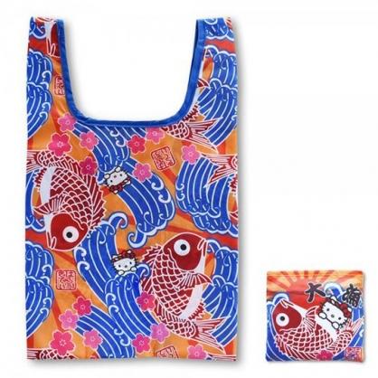 小禮堂 Hello Kitty 和風折疊尼龍環保購物袋 環保袋 側背袋 手提袋 (藍紅 魚旗)