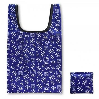 小禮堂 Hello Kitty 和風折疊尼龍環保購物袋 環保袋 側背袋 手提袋 (藍白 蜻蜓)