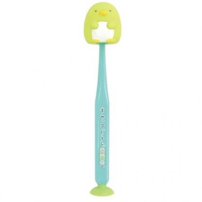 小禮堂 角落生物 企鵝 造型吸盤式兒童牙刷 附牙刷蓋 學習牙刷 學童牙刷 (綠)