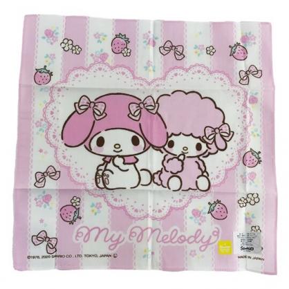 小禮堂 美樂蒂 日製 純棉紗布短毛巾 純棉毛巾 方形毛巾 手帕 30x30cm (粉 蕾絲)