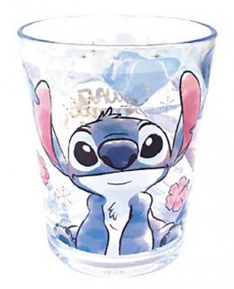 小禮堂 迪士尼 史迪奇 無把塑膠杯 透明杯 壓克力杯 兒童水杯 300ml (藍 花朵)