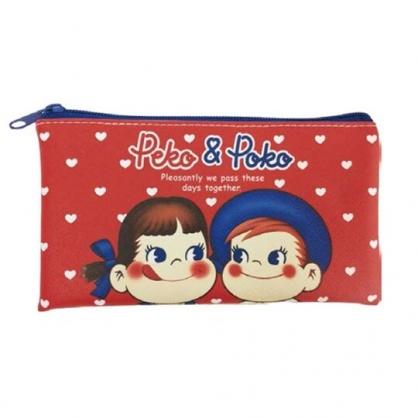 小禮堂 不二家Peko 皮質扁平拉鍊筆袋 皮質筆袋 鉛筆袋 鉛筆盒 (紅 愛心)