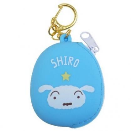 小禮堂 蠟筆小新 圓形矽膠零錢包 掛飾零錢包 小物包 耳機包 (藍 小白)