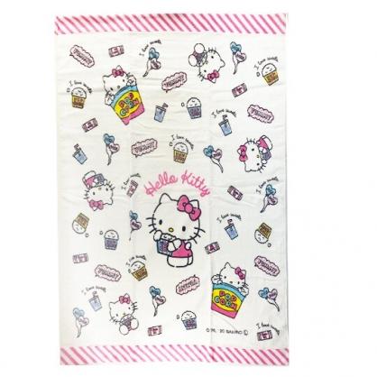 小禮堂 Hello Kitty 純棉割絨浴巾 純棉浴巾 身體毛巾 85x115cm (白 爆米花)