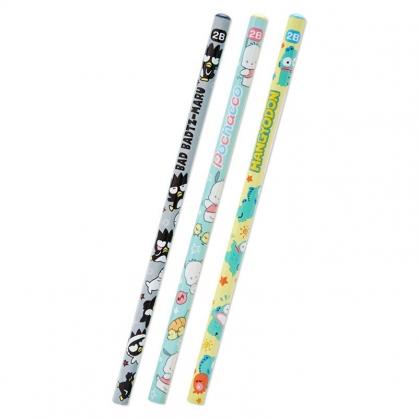 小禮堂 Sanrio大集合 六角鉛筆組 2B鉛筆 木鉛筆 (3入 灰 滿版)