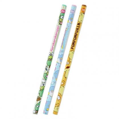 小禮堂 Sanrio大集合 六角鉛筆組 2B鉛筆 木鉛筆 (3入 綠 滿版)
