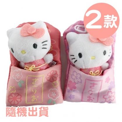 小禮堂 Hello Kitty 御守造型迷你玩偶 御守玩偶 絨毛娃娃 睡袋娃娃 (2款隨機)