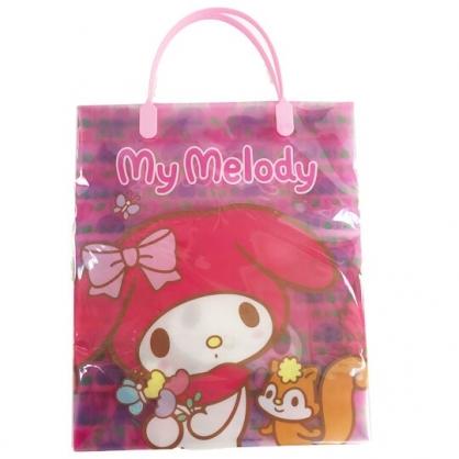 小禮堂 美樂蒂 直式方形透明手提袋 禮物提袋 包裝提袋 禮品袋 (粉 花朵)