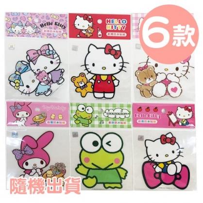 小禮堂 Sanrio大集合 造型防水貼紙 透明壁貼 裝飾貼紙 大貼紙 (6款隨機)
