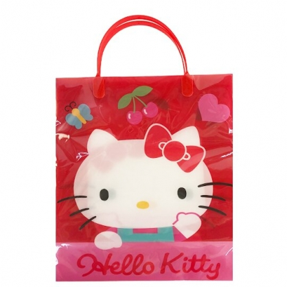 小禮堂 Hello Kitty 直式方形透明手提袋 禮物提袋 包裝提袋 禮品袋 (紅 招手)