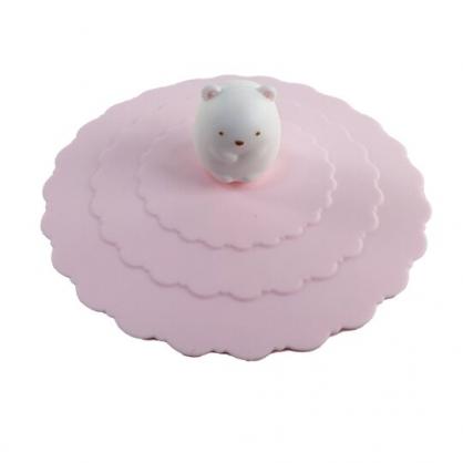 小禮堂 角落生物 北極熊 立體造型矽膠杯蓋 防漏杯蓋 環保杯蓋 直徑9.5cm (粉)