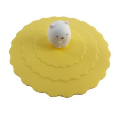 小禮堂 角落生物 北極熊 立體造型矽膠杯蓋 防漏杯蓋 環保杯蓋 直徑9.5cm (黃)