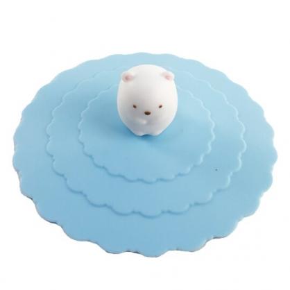 小禮堂 角落生物 北極熊 立體造型矽膠杯蓋 防漏杯蓋 環保杯蓋 直徑9.5cm (藍)