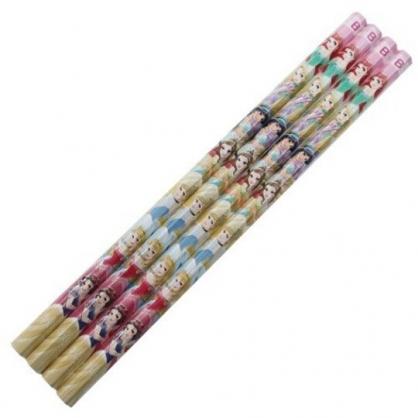 小禮堂 迪士尼 公主 日製 六角鉛筆組 B鉛筆 木鉛筆 (4入 粉黃 禮服)