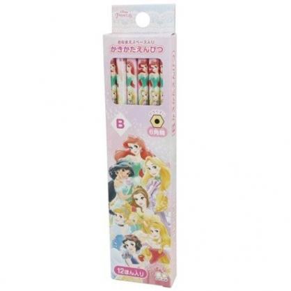 小禮堂 迪士尼 公主 日製 六角鉛筆組 B鉛筆 木鉛筆 (12入 粉 禮服)