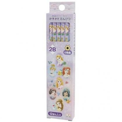 小禮堂 迪士尼 公主 日製 六角鉛筆組 2B鉛筆 木鉛筆 (12入 紫 大臉)