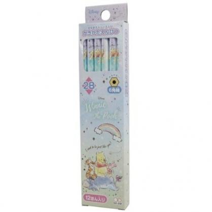 小禮堂 迪士尼 小熊維尼 日製 六角鉛筆組 2B鉛筆 木鉛筆 (12入 綠 彩虹)