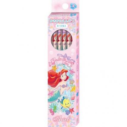 小禮堂 迪士尼 小美人魚 日製 六角鉛筆組 B鉛筆 木鉛筆 (12入 粉 花草)
