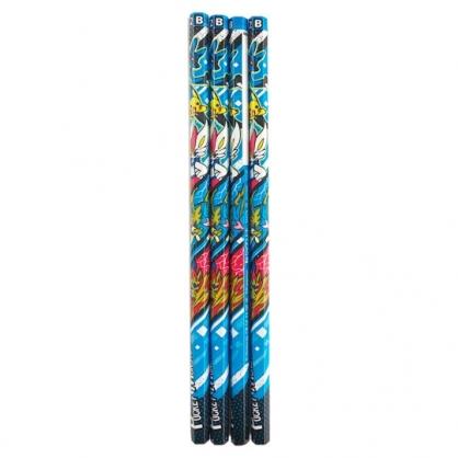 小禮堂 寶可夢 皮卡丘 日製 六角鉛筆組 B鉛筆 木鉛筆 (4入 藍紅 三隻)