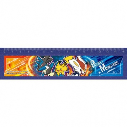 小禮堂 寶可夢 皮卡丘 日製 寬版塑膠尺 透明尺 直尺 寬尺 15cm (藍 三隻)