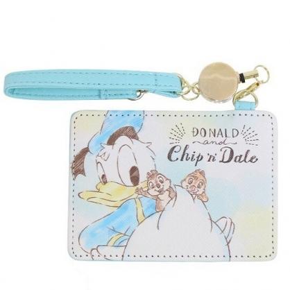 小禮堂 迪士尼 唐老鴨 奇奇蒂蒂 皮質易拉扣票卡夾 伸縮票卡夾 證件夾 車票夾 (藍 屁股)