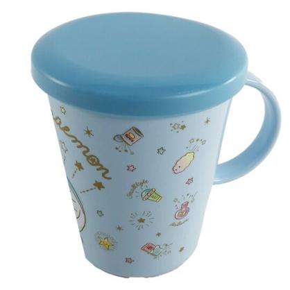 小禮堂 哆啦A夢 日製 單耳塑膠杯 附蓋 兒童水杯 漱口杯 小水杯 260ml (藍 眨眼)
