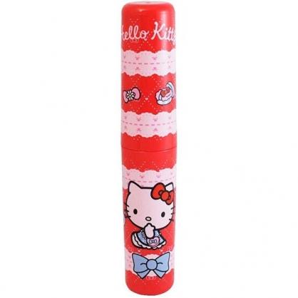 小禮堂 Hello Kitty 日製 圓形塑膠隨身收納罐 筷罐 筆罐 牙刷罐 (紅 蕾絲)