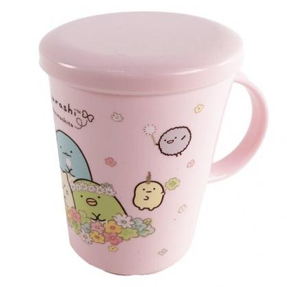 小禮堂 角落生物 日製 單耳塑膠杯 附蓋 兒童水杯 漱口杯 小水杯 260ml (粉 花圈)