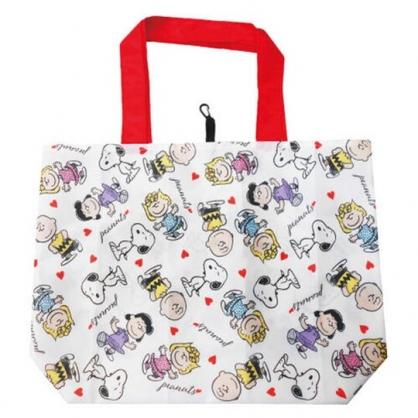 小禮堂 史努比 折疊尼龍環保購物袋 環保袋 側背袋 手提袋 (紅白 愛心)