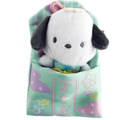 小禮堂 帕恰狗 御守造型迷你玩偶 御守玩偶 絨毛娃娃 睡袋娃娃 (綠)
