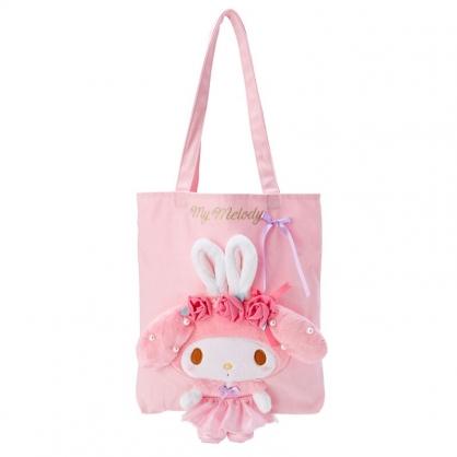 小禮堂 美樂蒂 直式帆布側背袋 玩偶側背袋 帆布托特包 書袋 (粉 芭蕾劇場)