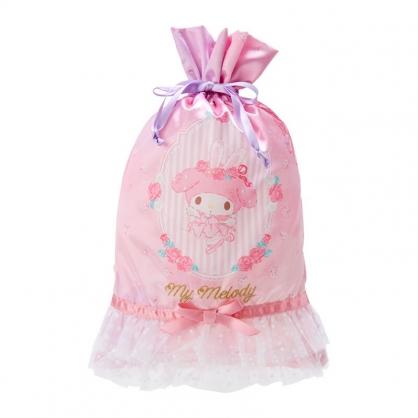 小禮堂 美樂蒂 蕾絲緞面束口袋 旅行收納袋 文具袋 小物袋 縮口袋 (粉 芭蕾劇場)