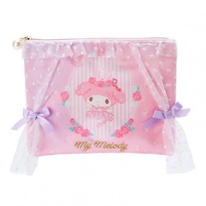 小禮堂 美樂蒂 蕾絲緞面扁平收納包 緞面收納包 化妝包 文具袋 (粉 芭蕾劇場)