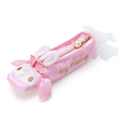 小禮堂 美樂蒂 舞鞋造型緞面拉鍊筆袋 緞面筆袋 鉛筆盒 鉛筆袋 (粉 芭蕾劇場)