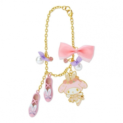 小禮堂 美樂蒂 造型金屬鑰匙圈 珍珠吊飾 鐵鑰匙圈 包包吊飾  (粉 芭蕾劇場)