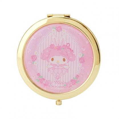 小禮堂 美樂蒂 圓形金屬隨身雙面鏡 隨身化妝鏡 放大鏡 圓鏡  (粉 芭蕾劇場)
