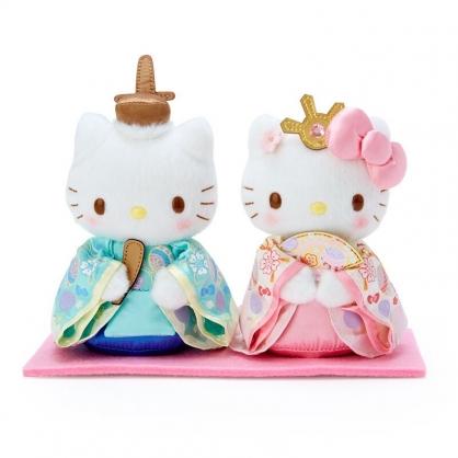 小禮堂 Hello Kitty x Daniel 女兒節絨毛玩偶組 雛祭娃娃 和服娃娃 小型玩偶 透明盒裝 (2入 粉綠)
