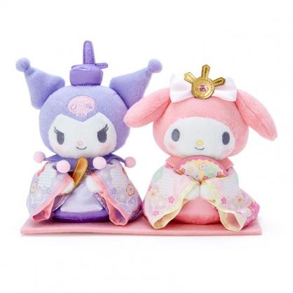 小禮堂 美樂蒂 x 酷洛米 女兒節絨毛玩偶組 雛祭娃娃 和服娃娃 小型玩偶 透明盒裝 (2入 粉紫)