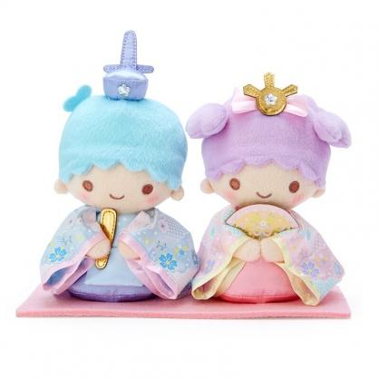 小禮堂 雙子星 女兒節絨毛玩偶組 雛祭娃娃 和服娃娃 小型玩偶 透明盒裝 (2入 藍紫)