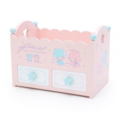 小禮堂 雙子星 造型木質雙抽收納盒 桌上型收納盒 抽屜盒 文具盒 飾品盒 (粉 45週年)