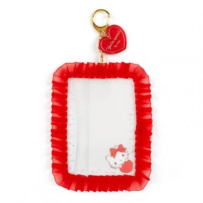 小禮堂 Hello Kitty 蕾絲邊框相框鑰匙圈 透明相框 相框吊飾 相片架 (紅 演唱會粉絲收納)