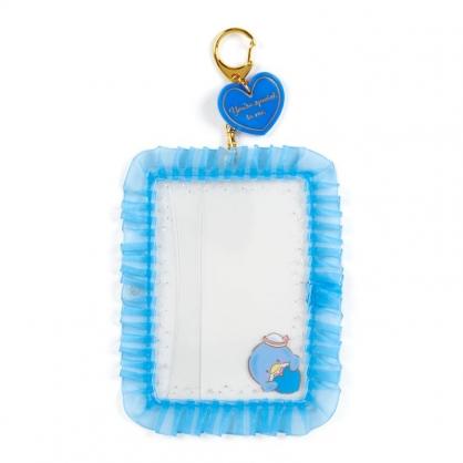 小禮堂 山姆企鵝 蕾絲邊框相框鑰匙圈 透明相框 相框吊飾 相片架 (藍 演唱會粉絲收納)