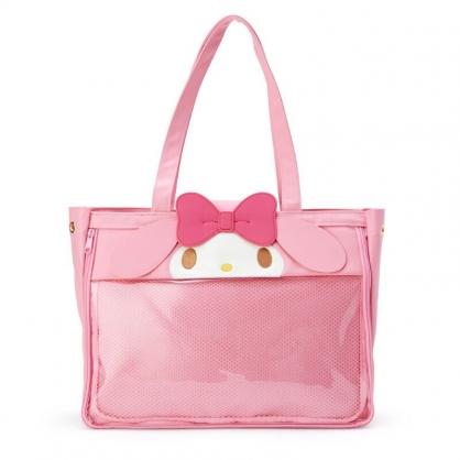 小禮堂 美樂蒂 造型橫式皮質側背包 玩偶展示包 皮質托特包 手提包 (粉 演唱會粉絲收納)