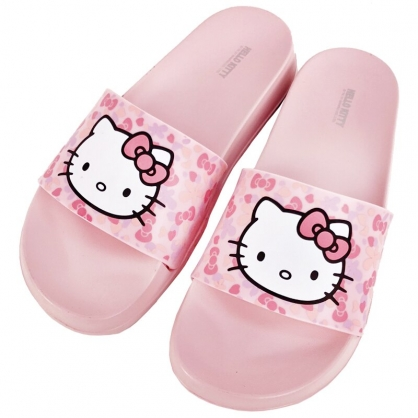 小禮堂 Hello Kitty 塑膠厚底拖鞋 EVA拖鞋 室內拖鞋 浴室拖鞋 (粉 花朵)